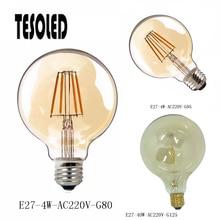Retro Edison Light Bulb E27 220V 4W-G80/G95 40W-G125 Filament Incandescent Ampoule Bulb Warm White for home decoration 8.20 4w e27 220v filament led bulb lamp indoor lighting 40w to replace 40w incandescent ce