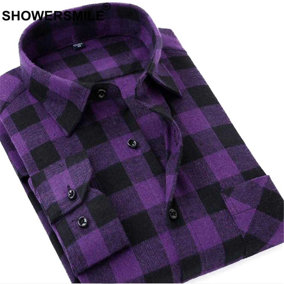 SHOWERSMILE Purple Shirt Men Long Sleeve Plaid Flannel Shirt Male Slim Fit Black White Checkered Shirt Autumn Winter Clothing