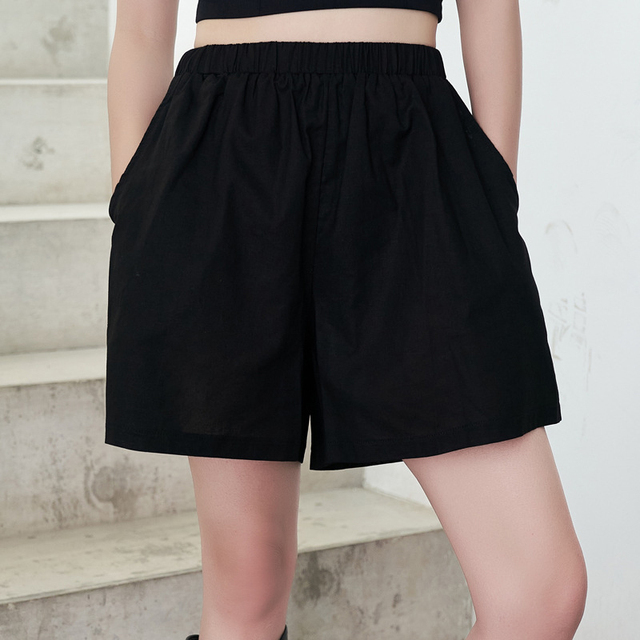[EAM] Wide Leg Shorts Oversized Two Piece Suit New Hooded Sleeveless Black Loose Fit Women Fashion Spring Summer 2021 1DE0282 6
