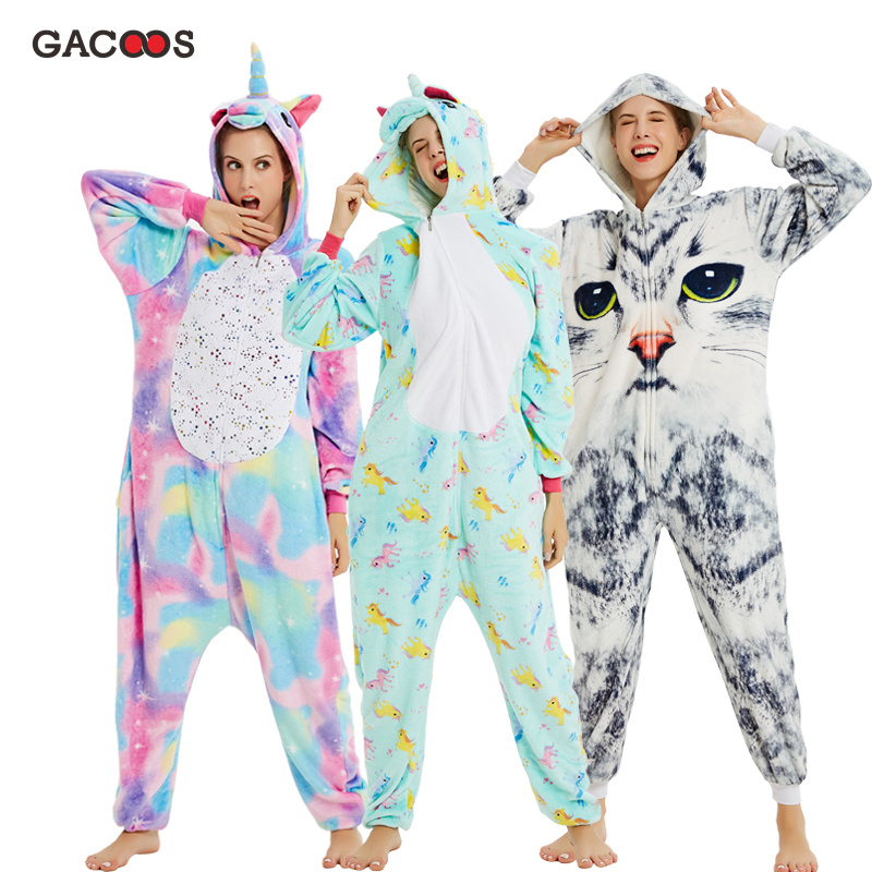 Новая зимняя Пижама с единорогом для взрослых, пижамы с животными Кигуруми для женщин, фланелевый комбинезон с пандой, теплая Пижама, комбинезон Unicornio