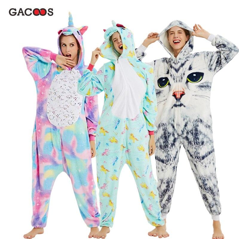New Winter Unicorn Pajamas For Adults Kigurumi Animal Pyjamas Women Panda Stich Onesie Flannel Warm Sleepwear Unicornio Jumpsuit