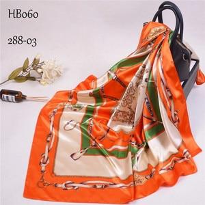Image 5 - Khăn Lụa Nữ In Tóc Cổ Vuông Khăn Choàng Cổ Văn Phòng Nữ Bandanna 90*90Cm Hồi Giáo Hijab Khăn Tay Nhét foulard