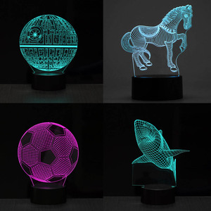 Image 2 - 1pc Lamp Bases For 3D LED Night Light Replacement 7 Color Light Bases Table Decor Lamp Holder Assembled Base USB Cable Touch
