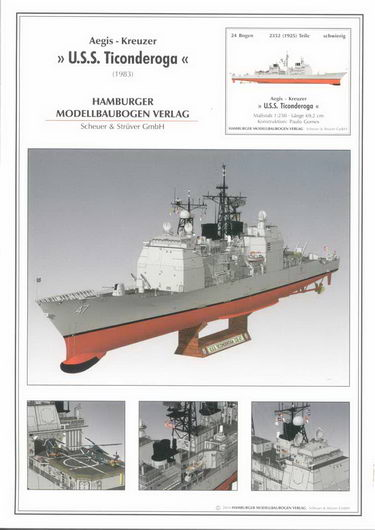 Paper Model HD Drawings American Tim Tikandroga Missile Cruiser PM250HMV4