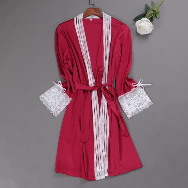 Burgundy Women Rayon Lace Robes Wedding Bridesmaid Bride Gown Kimono Solid Robe Sleepwear Nightgown Bridesmaid Robes Size M-XL
