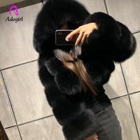 Ciepłe grube futrzane futro damskie zimowe sztuczne futro z lisa krótka kurtka eleganckie płaszcze puszysty Top płaszcz z kapturem z kapturem Manteau Plue rozmiar 6XL