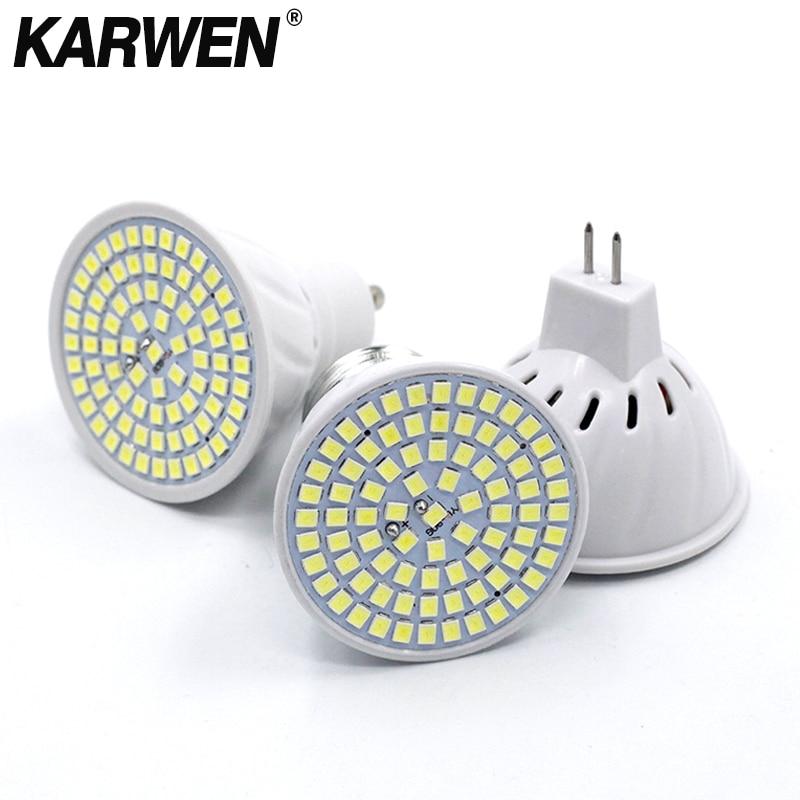 KARWEN  Lampada LED Lamp GU10 MR16 E27 E14 Bombillas LED Bulb 220V 240V Spotlight 48 60 80 LED 2835 SMD Lampara Light