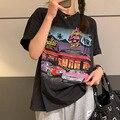 Женские повседневные футболки в американском стиле ретро-комиксов, свободные летние футболки большого размера для девочек, топы с круглым ...