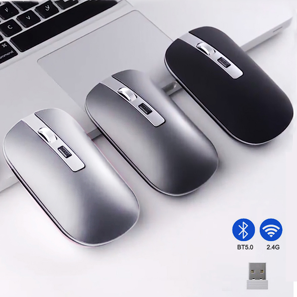 Gaming Mouse Bluetooth 2.4G Wireless Mouse Dual Mode Silent Mouse 1600DPI Optical Ergonomic Portable PC Computer Optical Mice