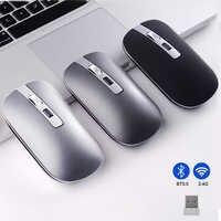 Ratón Gaming Bluetooth 2,4G ratón inalámbrico modo Dual ratón silencioso 1600DPI óptico ergonómico portátil PC ratón óptico