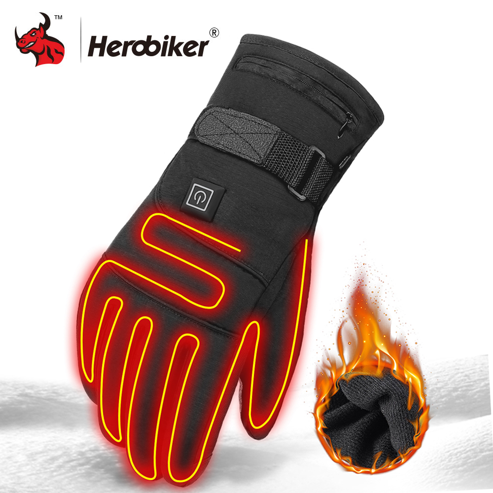 Waterproof Motorcycle Gloves Heated Guantes Moto Heating USB Hand Warmer Electric Thermal Heated Gloves Battery Powered Gloves title=