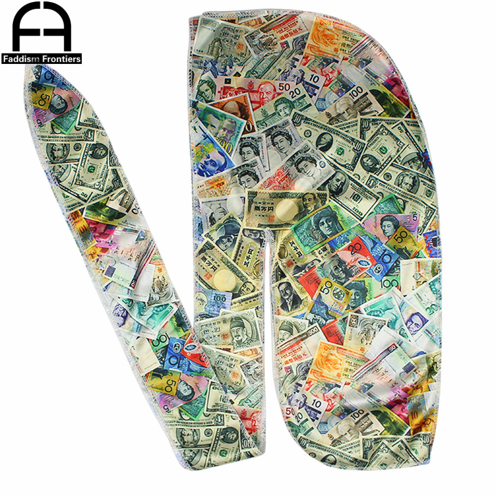 Men Silky Colorful Money Durag Bandanas For Men Silk Durag Long Straps Headwrap Hair Wave Brush Style Durag