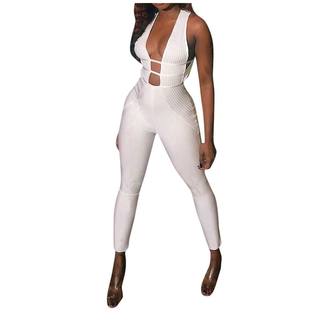 Women Sexy Jumpsuits Overalls Rompers Opening Patchwork Jumpsuit Female Long Sleeve Lace Overall Trousers Party Playsuit
