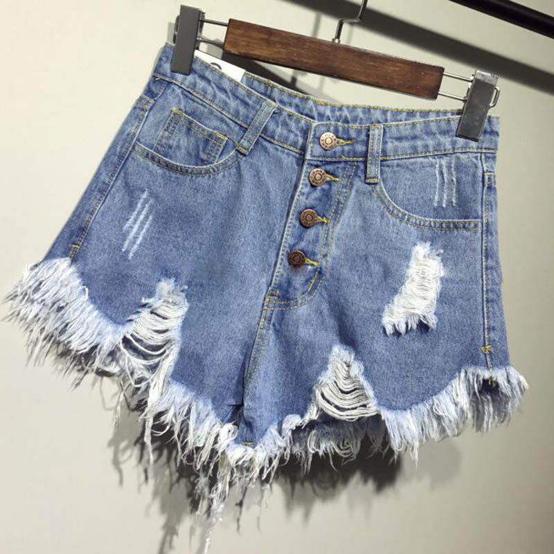 New Arrival Casual Summer Denim Women Shorts High Waists Fur-lined Leg-openings Plus Size Sexy Frayed Hole Short Ripped Jeans