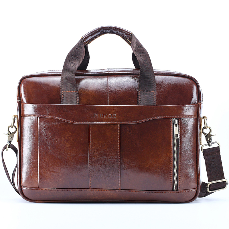 Briefcase Bag Men Business Bag For 14 Inch Laptop Handbags High Quality Leather Office Bags Totes Male Messenger HandBags