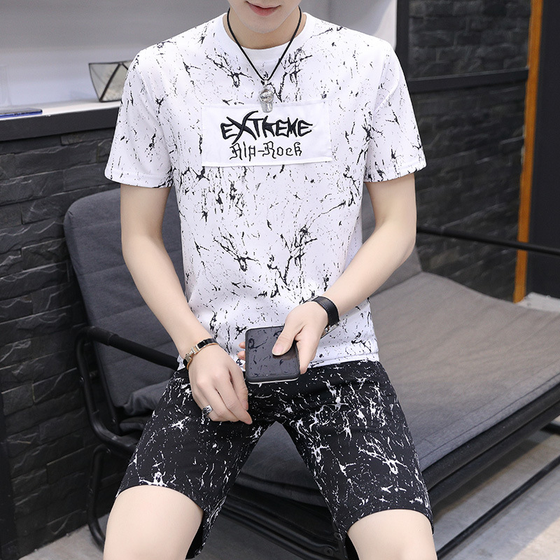 2019 Summer New Style Men Short Sleeve T-shirt Suit Young MEN'S Casual Sports Fashion Short Sleeve Set
