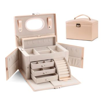 Faux Leather Jewelry Box Organizer 6 Colors Available Vintage Gift Storage Case