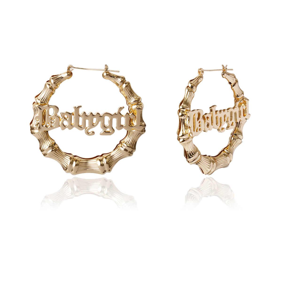 รอบวงกลมไม้ไผ่Hoopต่างหูHollow Letter Babygirl Gold Silverสีต่างหูVINTAGE 2020 Punk OVERSIZE Brincos