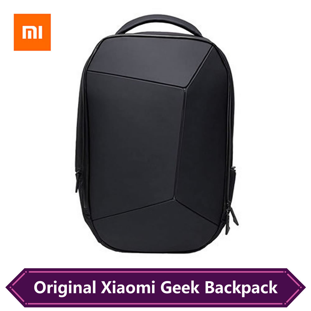 Original Xiaomi Geek Backpack Geometric Splicing Reflective Ergonomics Design Men Laptop Bag Fashion Business Travel Backpack image