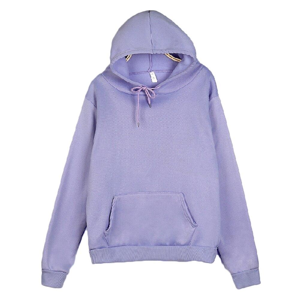 Women/Men's Sweatshirt Autumn Solid Color Long Sleeve Hoodie Pocket Drawstring Loose Sweatshirt Warm Pocket Oversize Pullovers 2