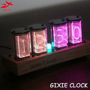zirrfa GIXIE CLOCK 4 Bits full color LED Glow Tube Digital Clock diy Kit Retro Desk Watch 5V Micro USB Powered