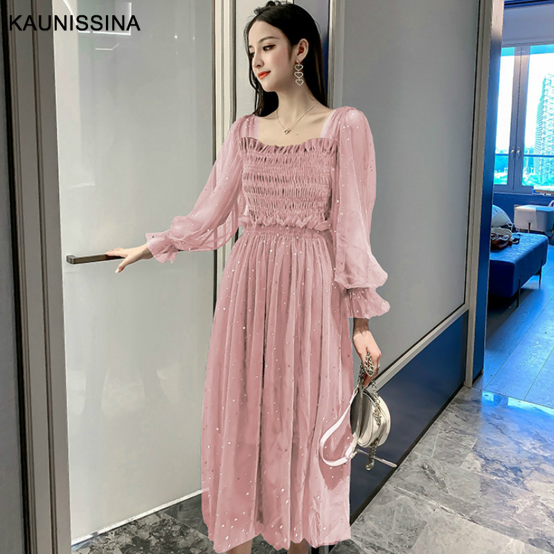 KAUNISSINA Sweet Cocktail Dresses Korea Style Party Prom Gowns Solid Long Sleeve Mesh Tulle Birghtday Robe Cocktail Dress