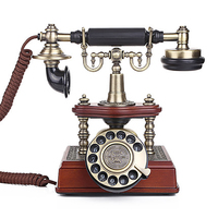 Vintage Antique Style Rotary Dial Button Desk Telephone Phone European Retro Corded Landline Telephone Cafe Bar Home Decoration