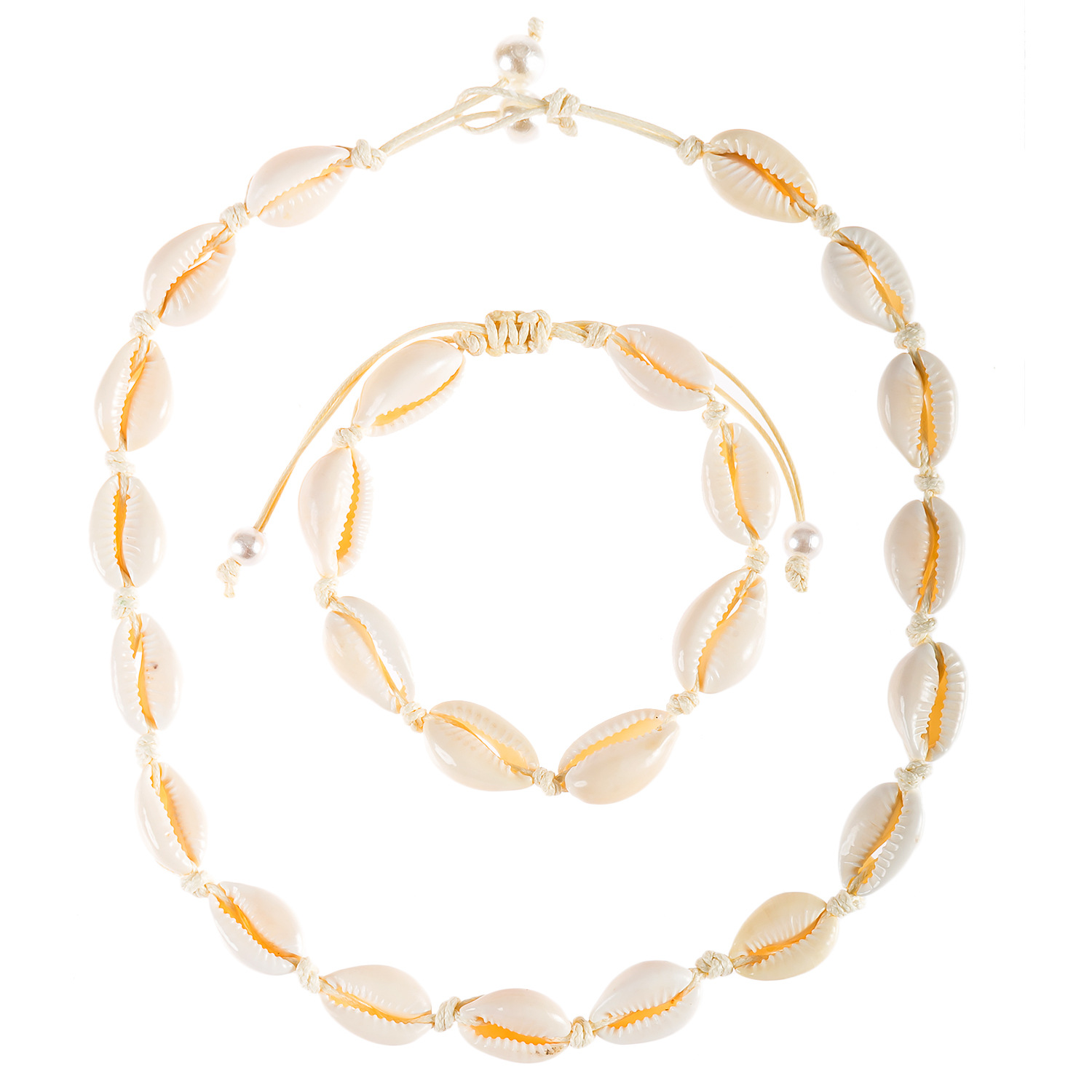 Summer Ocean Wind Accessories Natural Shell Bracelet Necklace Set Popular Beach Accessories Necklace Amazon Hot Selling