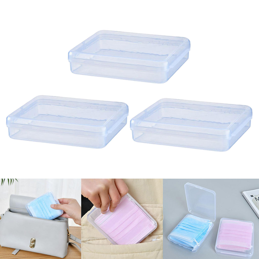 3Pcs Portable Storage Case Clear Plastic Face Mask Cover Carry Box Holder