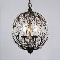 chandeliers lamp American vintage k9 crystal flower home deco living room E14 bulb retro iron ball chandeliers lighting fixture