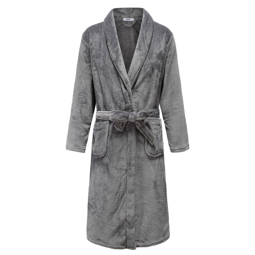 Gray Men Winter Sleepwear Soft Flannel Nightwear Home Clothing Casual Thick Coral Fleece Kimono Bathrobe Gown Nightgown