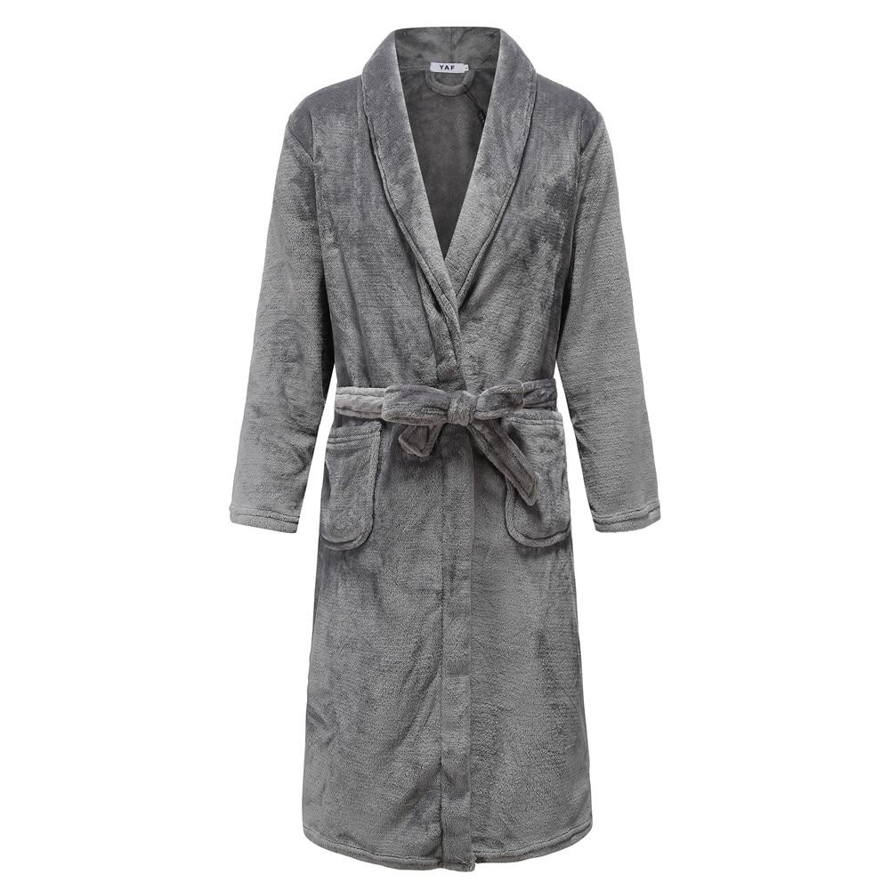 Gray Men Winter Sleepwear Soft Flannel Nightwear Home Clothing Casual Thick Coral Fleece Kimono Bathrobe Gown Nightgown