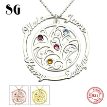 New Arrival Family Tree of Life Necklaces Custom engraved Name Birthstones Pendants 925 Silver Chain Jewelery Gift for Mother