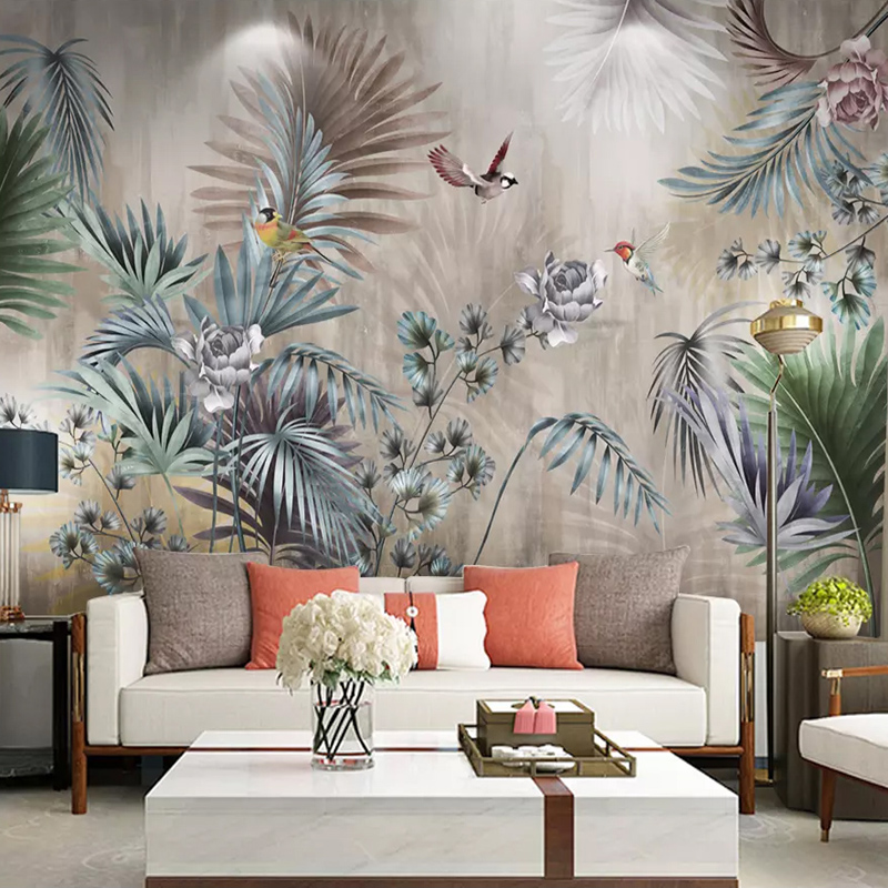 Custom Photo Wallpaper For Walls 3D Nordic Plant Leaves Flowers Birds Wall Mural Retro Living Room Sofa TV Background Wall Paper