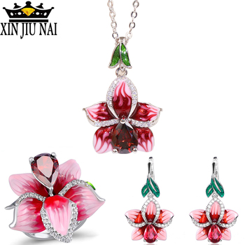 Fashion Jewelry 925 Sterling Silver Enamel Flower Jewelry Set Wedding Red Water Drop Crystal Engagement Gem Woman Ring Gift