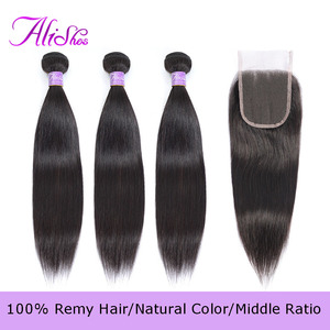 Прямые волосы, бразильские волосы, волнистые волосы, 3 пучка s с застежкой, 100% человеческие волосы, пучок с застежкой, 4 шт./лот, волосы Remy