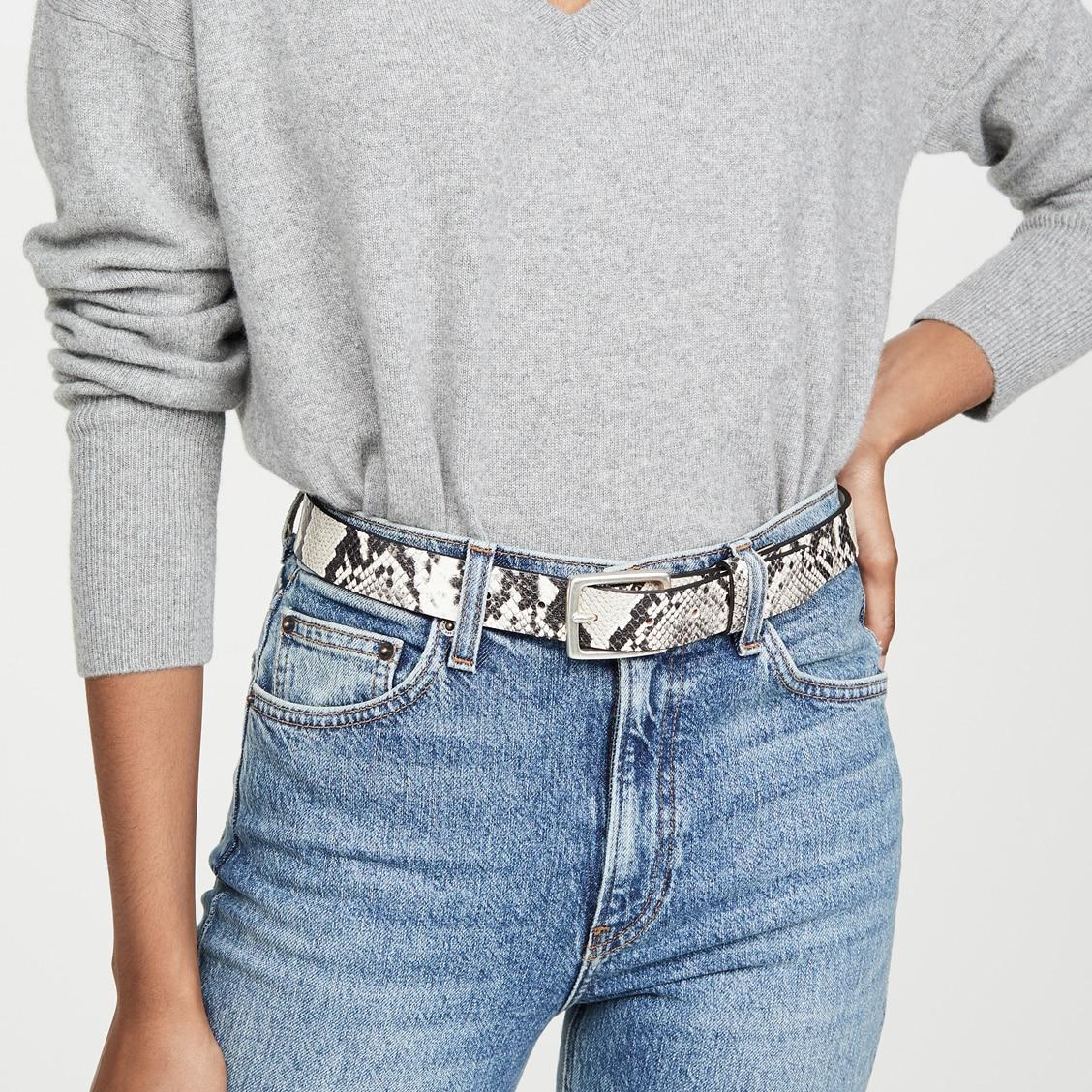 Dvacaman Snake Print Leather Belt For Women Boyfriend Style Square Buckle Waist Belt Punk Girls Accessories Wholesale Party Gift