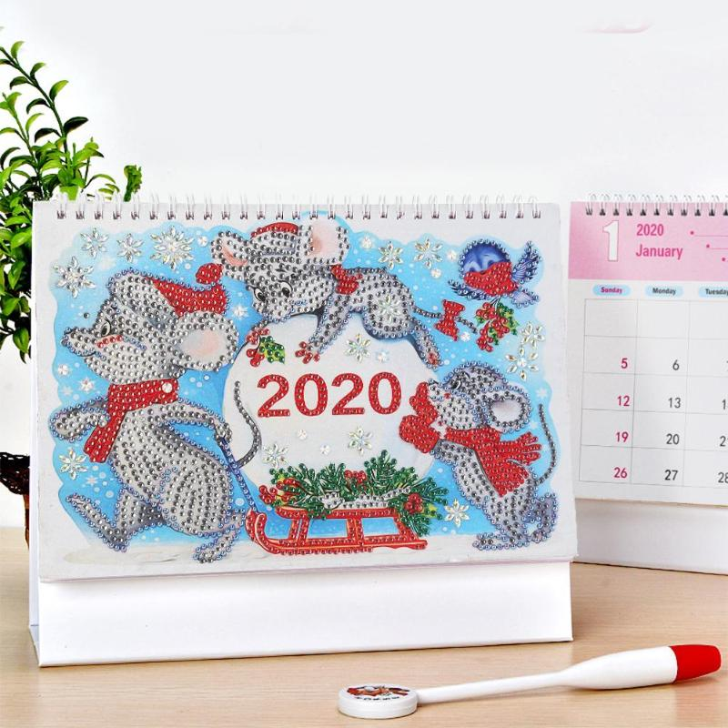 Xmas Mouse Diamond Painting Calendar 2020 Lovely DIY Drill Special Shape Cross Stitch Schedule Planner Home Bedroom Decoration