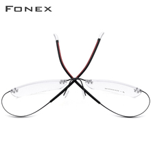 FONEX B Pure Titanium Men Rimless Optical Glasses Frame Women Prescription Eyeglasses Ultralight Myopia Eyewear 9203