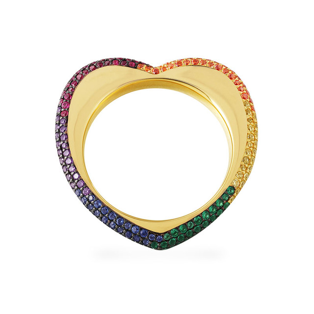 SLJELY High Quality 925 Sterling Silver Gold Color Rainbow Love Heart  Geometric Finger Ring Paved Colorful Zirconia for Women