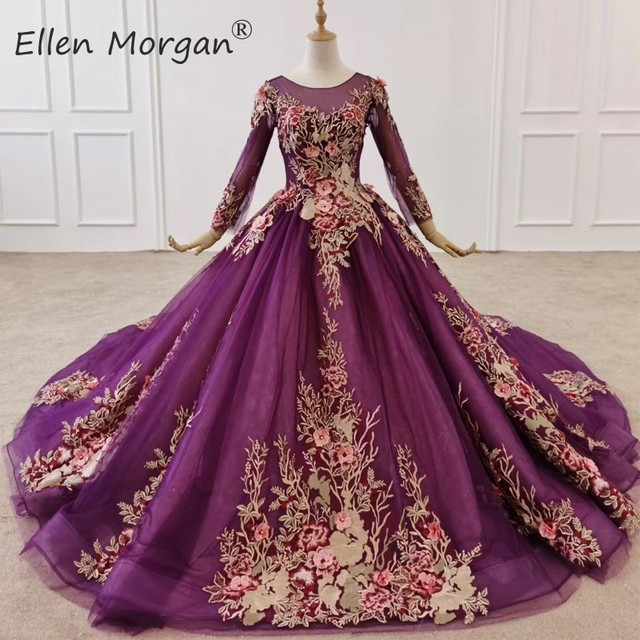 Purple Long Sleeves Ball Gowns Evening Dresses 2020 for Women Wear Colorful Lace Crystals Vintage Muslim Engagement Event Formal