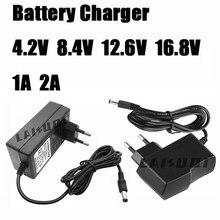 4.2 v 8.4 v 12.6 v 16.8 v 1a 2a ac 100-240v ao carregador da fonte do adaptador de alimentação da c.c. para a bateria de lítio 18650 v 4.2 v 8.4 v 12.6 v 16.8 v