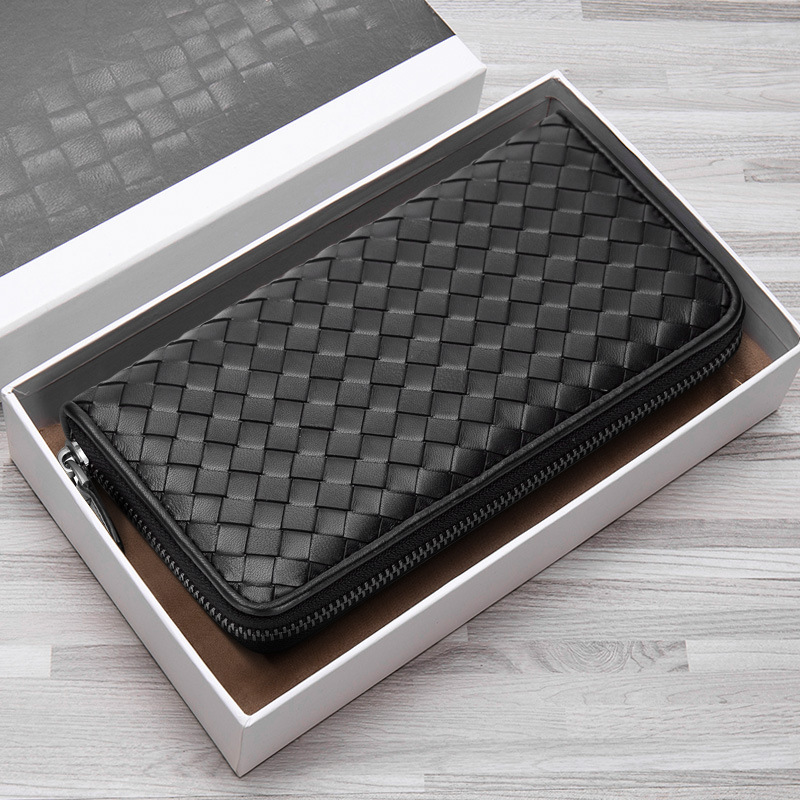 2021 New Leather Men's Wallet Long Woven Leather Bag Luxury Brand Clutch Simple Fashionable Lady Wallet Large Capacity Sheepskin