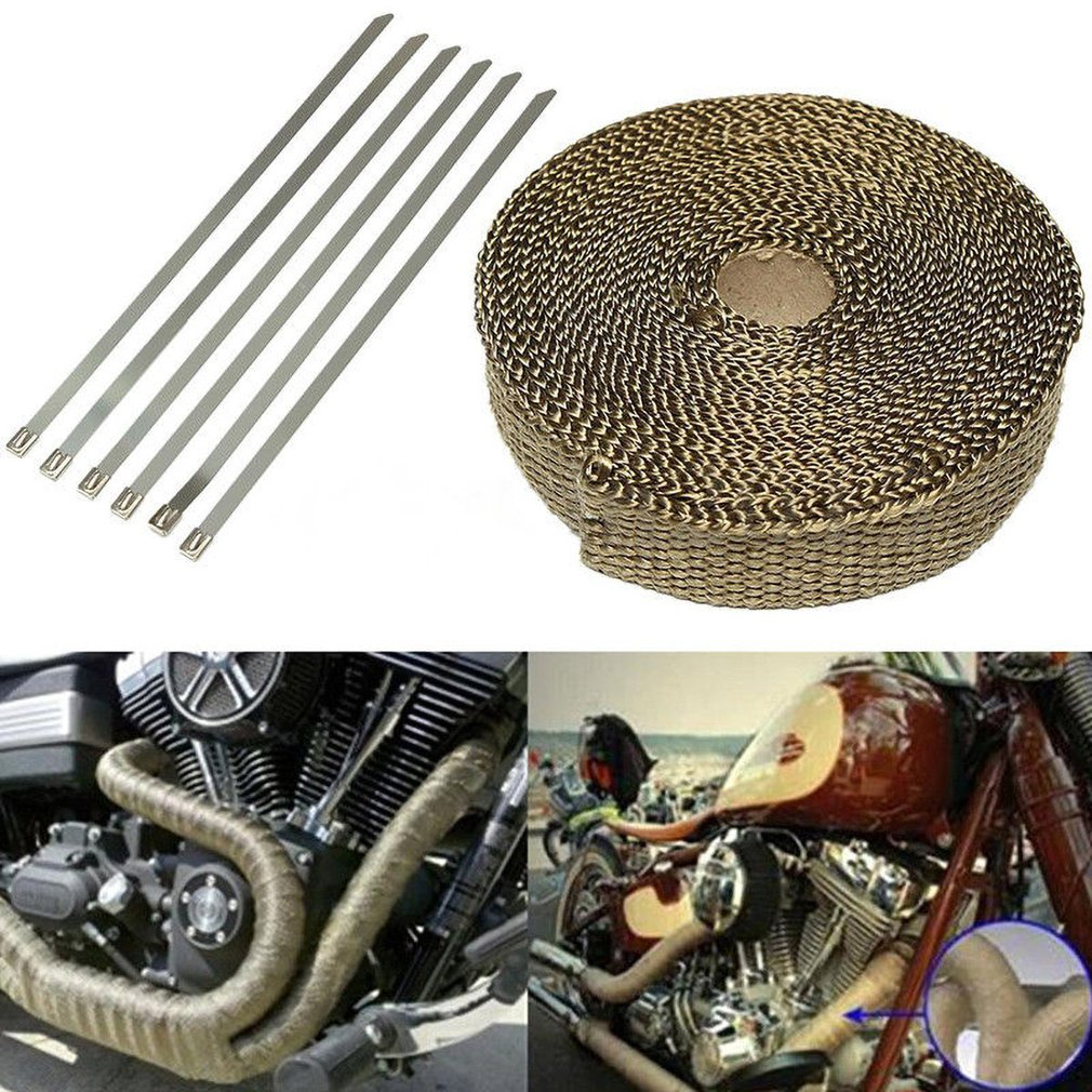 SI-AT24002 2.54cmx1.60mmx7.5m Titanium Gold Exhaust Pipe Thermal Insulation Cloth Anti-scalding Turbine Band