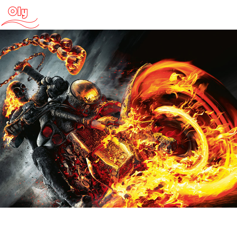 100% Full 5D Diyond Pictură Daimond Ghost Rider Sistem întunecat 3D Diamant Pictură Stiluri rotunde Cu diamant complet Pictura Broderie