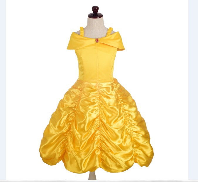 2018 Hot Selling Europe And America Movie Beauty And The Beast Girls Bow Princess Dress Halloween Performance Wear