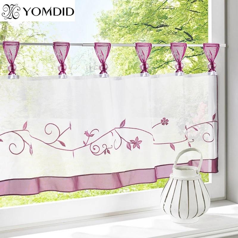 rideaux brodes pour table demi rideau en tulle decoration de fenetre cafe romain nouveaute rideaux courts pour cuisine