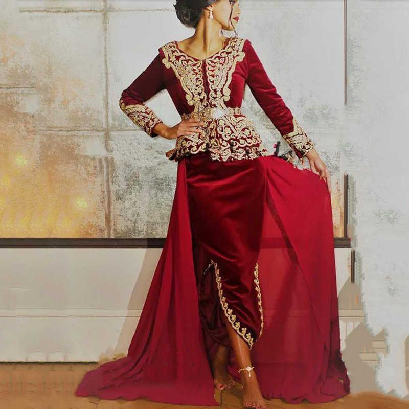 Lorie kaftan karakou algerien wyjściowe sukienki na studniówkę z długim rękawem 2019 burgundowa aksamitna złota koronkowa z baskinką okazje wieczorowe