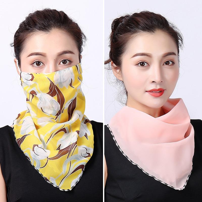 New Silk Face Mask Neck Scarf Female Bandana Headband Head Wraps For Women Fashion Covers Protector Masks Scarf Shawl 2020