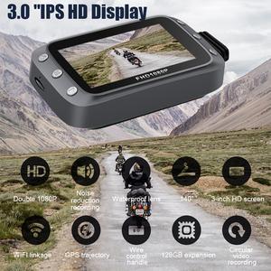 Видеорегистратор для мотоцикла HD 1080 с поддержкой GPS и WIFI 140 градусов широкоугольная циклическая запись для наружного вождения